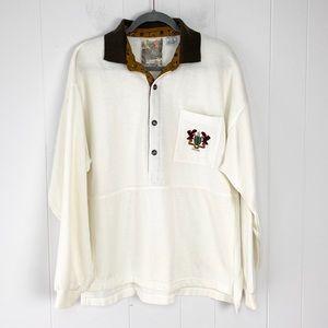 VTG Cotler 1/2 Button Embroidered Sweatshirt XL